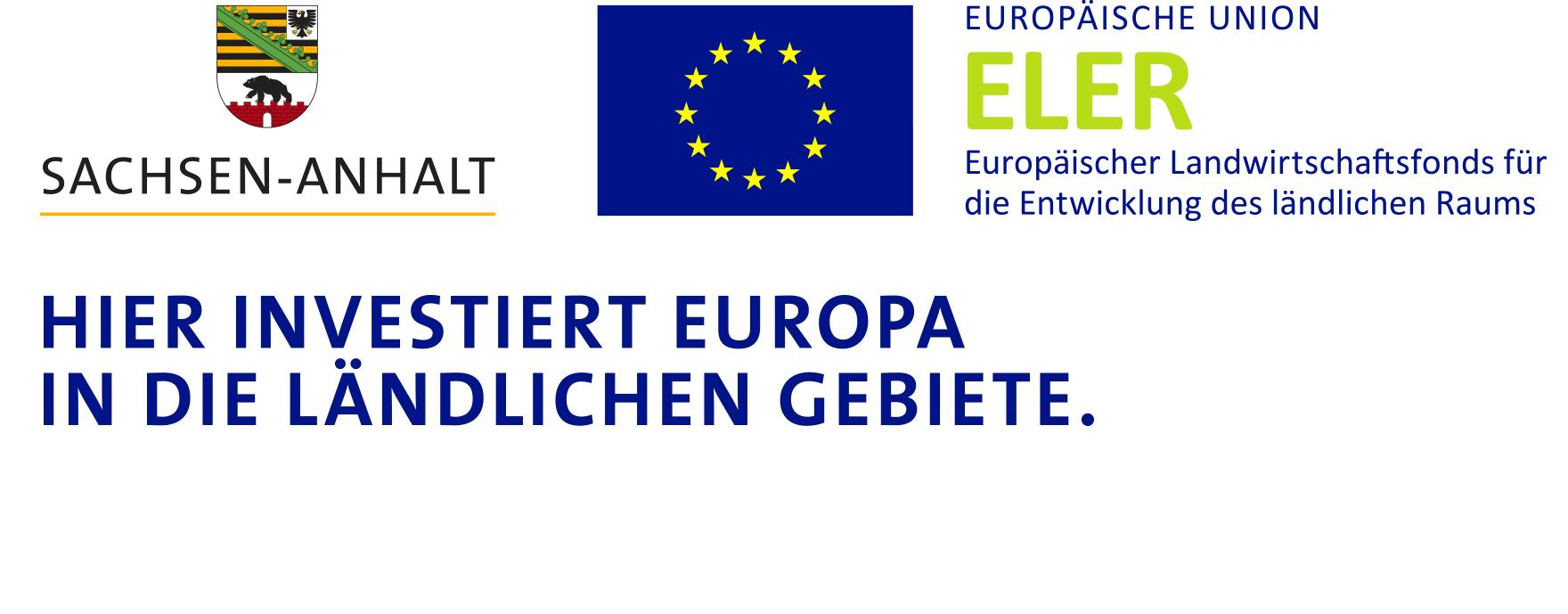 Signet-Paar mit Landessignet, Unionslogo und ESIF-Logo + HIER INVESTIERT EUROPA IN DIE LÄNDLICHEN GEBIETE
